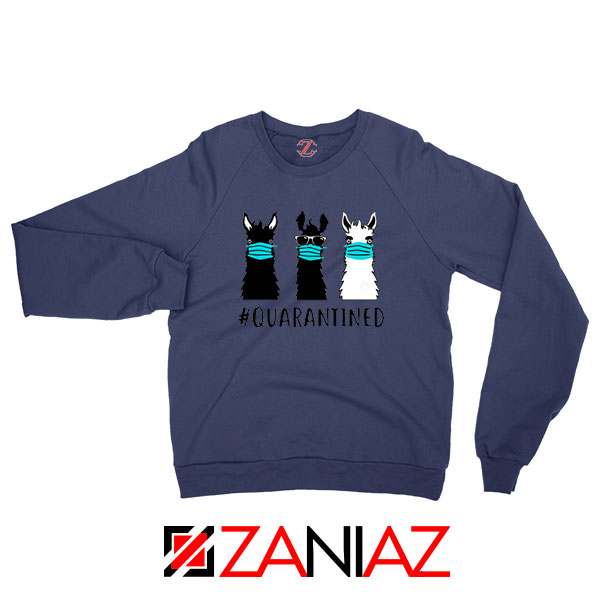 Llama Face Mask Navy Blue Sweatshirt