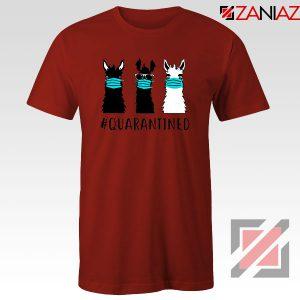 Llama Face Mask Red Tshirt