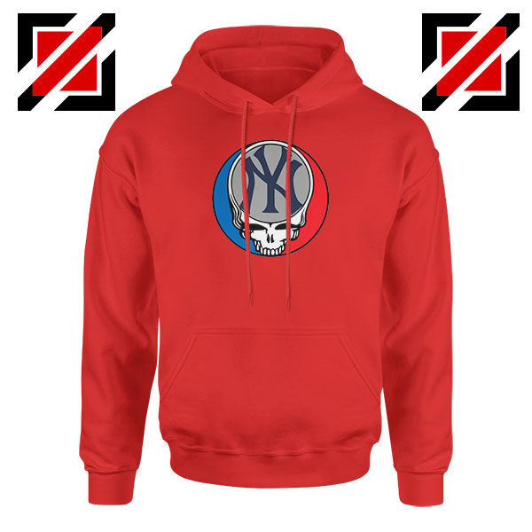 NY Yankees Grateful Dead Red Hoodie