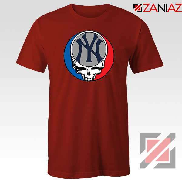 NY Yankees Grateful Dead Red Tshirt