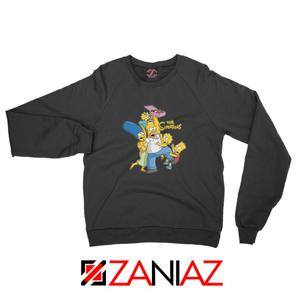 Simpson Family Loves Donuts Black Sweatshirt
