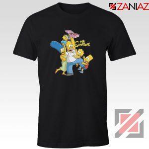 Simpson Family Loves Donuts Black Tshirt