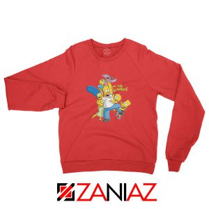Simpson Family Loves Donuts Red Sweatshirt