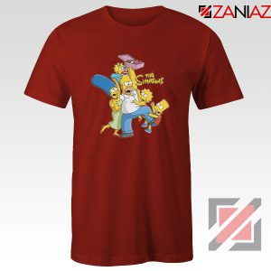 Simpson Family Loves Donuts Red Tshirt