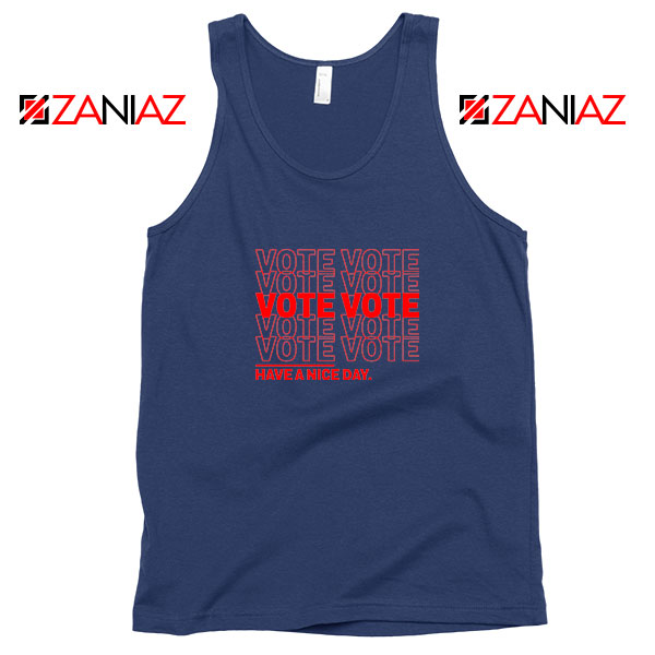 Vote Graphic Navy Blue Tank Top