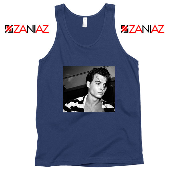 Young Johnny Depp Navy Blue Tank Top