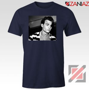 Young Johnny Depp Navy Blue Tshirt