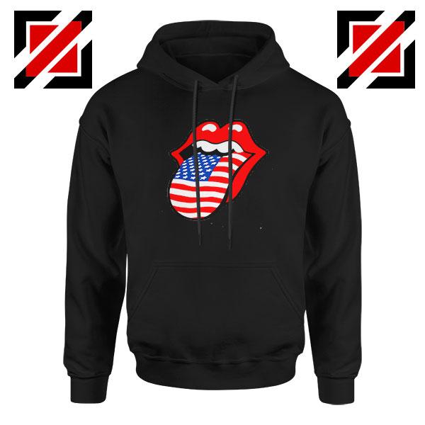 American Flag Tongue and Lips Black Hoodie