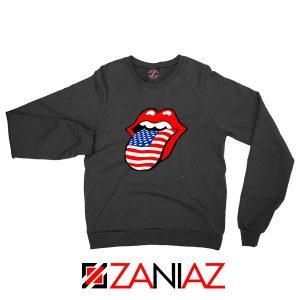 American Flag Tongue and Lips Black Sweatshirt