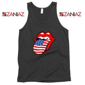 American Flag Tongue and Lips Black Tank Top