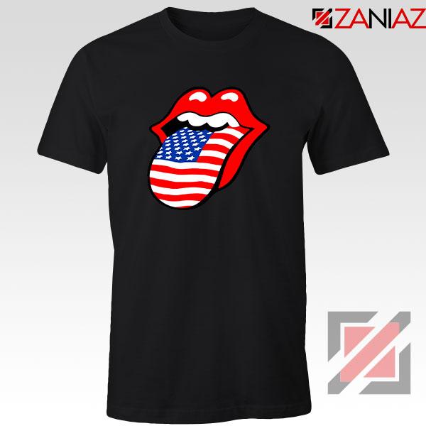 American Flag Tongue and Lips Black Tshirt