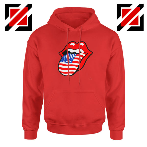American Flag Tongue and Lips Red Hoodie