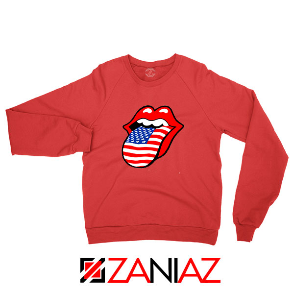 American Flag Tongue and Lips Red Sweatshirt