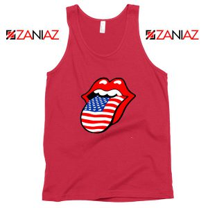 American Flag Tongue and Lips Red Tank Top