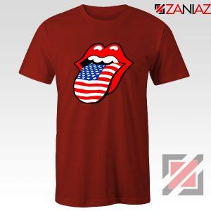 American Flag Tongue and Lips Red Tshirt
