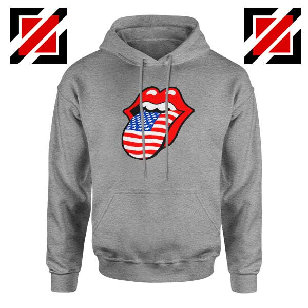 American Flag Tongue and Lips Sport Grey Hoodie