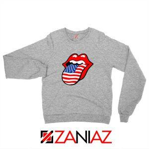 American Flag Tongue and Lips Sport Grey Sweatshirt