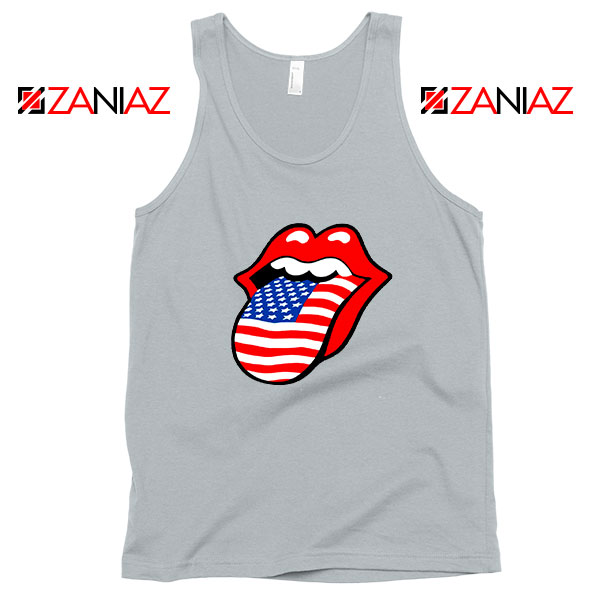 American Flag Tongue and Lips Sport Grey Tank Top