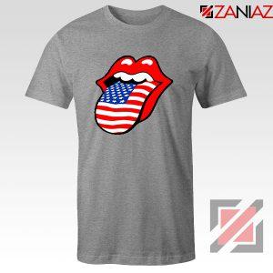 American Flag Tongue and Lips Sport Grey Tshirt