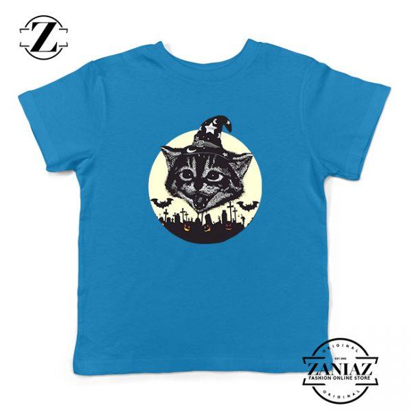 Halloween Black Cat Kids Blue Tshirt
