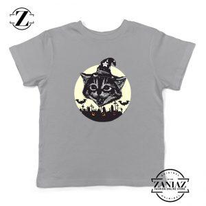 Halloween Black Cat Kids Sport Grey Tshirt