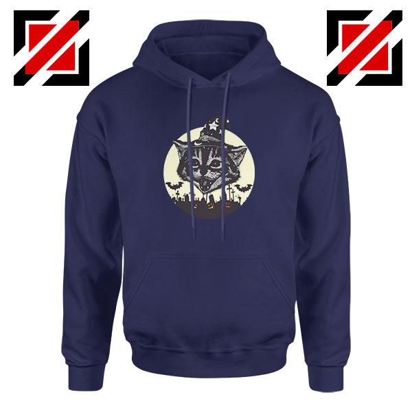 Halloween Black Cat Navy Blue Hoodie