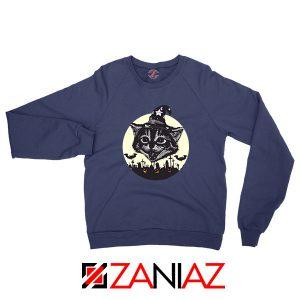 Halloween Black Cat Navy Blue Sweatshirt