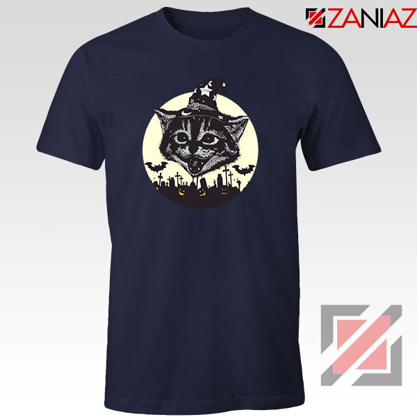 Halloween Black Cat Navy Blue Tshirt