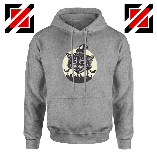 Halloween Black Cat Sport Grey Hoodie