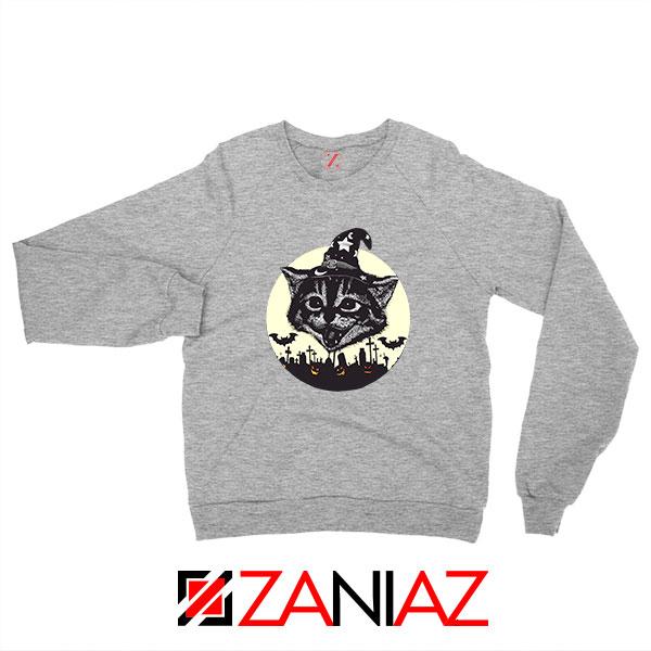 Halloween Black Cat Sport Grey Sweatshirt