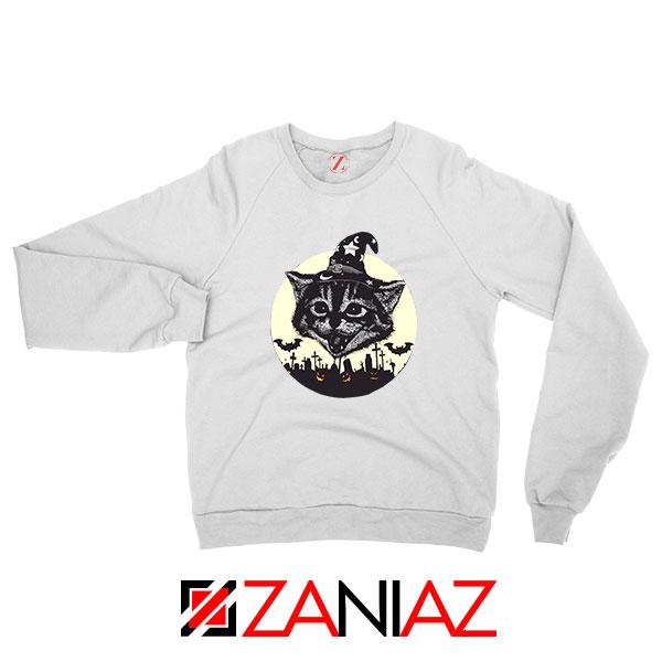 Halloween Black Cat White Sweatshirt