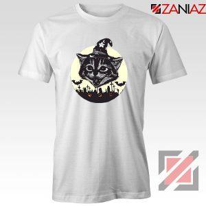 Halloween Black Cat White Tshirt