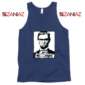 Hipster Abraham Lincoln Navy Blue Tank Top