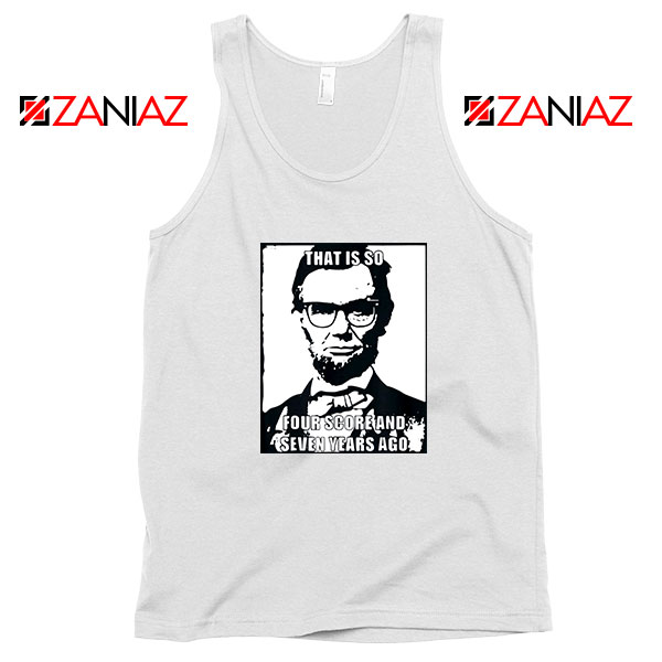 Hipster Abraham Lincoln White Tank Top