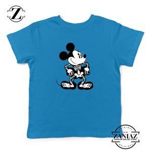 Mickey Mouse Skull Blue Kids Tshirt