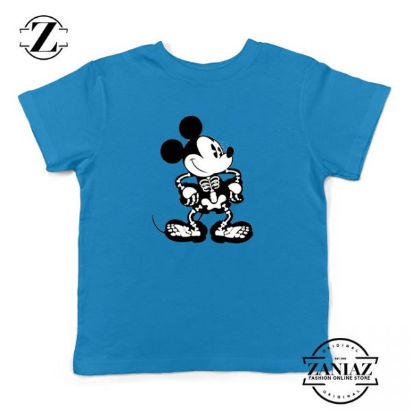 Mickey Mouse Skull Blue Kids Tshirt