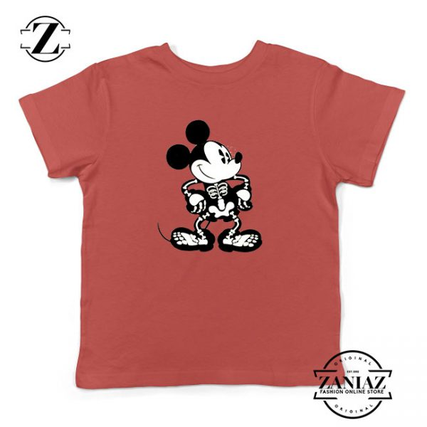 Mickey Mouse Skull Red Kids Tshirt