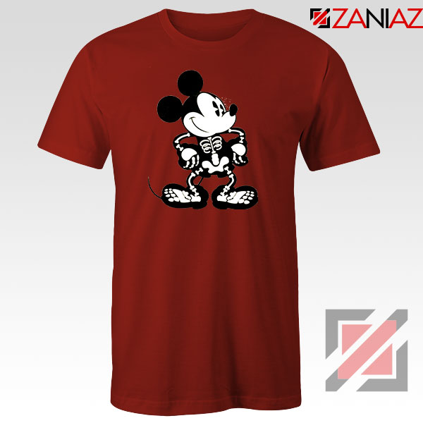 Mickey Mouse Skull Red Tshirt