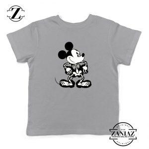 Mickey Mouse Skull Sport Grey Kids Tshirt