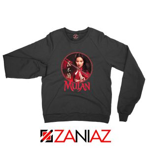 Mulan Portrait Circle Black Sweatshirt