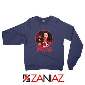 Mulan Portrait Circle Navy Blue Sweatshirt