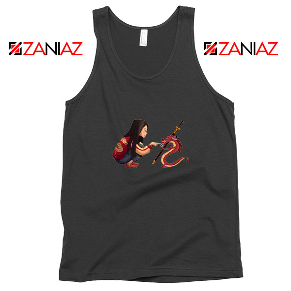 Mulan and Mushu Black Tank Top