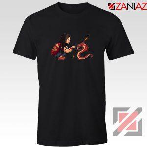 Mulan and Mushu Black Tshirt