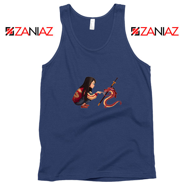 Mulan and Mushu Navy Blue Tank Top
