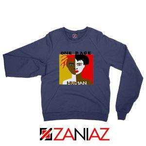 One Race Human Navy Blue Sweatshirt