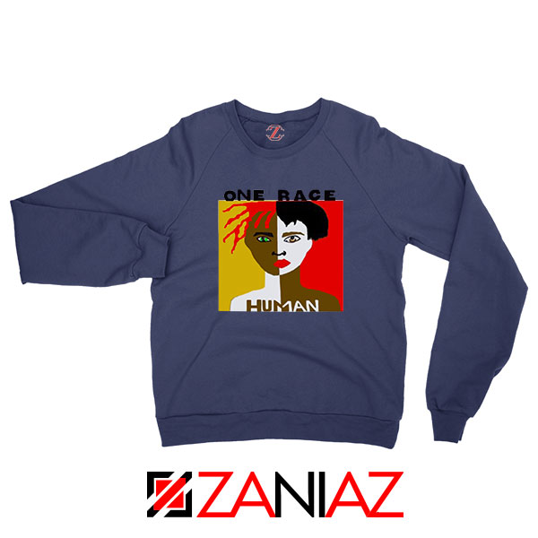One Race Human Navy Blue Sweatshirt