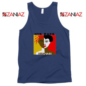 One Race Human Navy Blue Tank Top