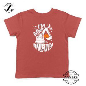 Digging Halloween Kids Red Tshirt