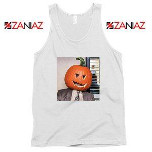Dwight Pumpkin Head White Tank Top