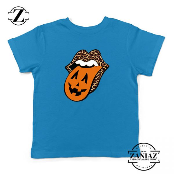 Leopard Pumpkin Mouth Tongue Kids Blue Tshirt
